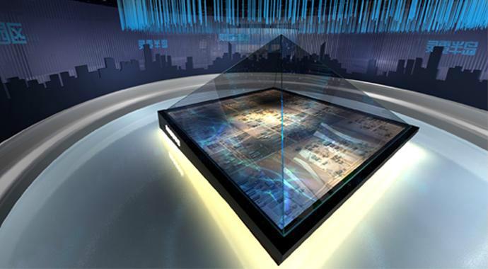 三维全息影像,全息三维成像,360全息是由透明材料制成的四面锥体,四个